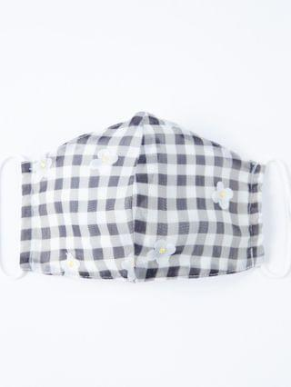 WOMEN Magnolia Place Black Gingham & Fabric Daisies Face Mask