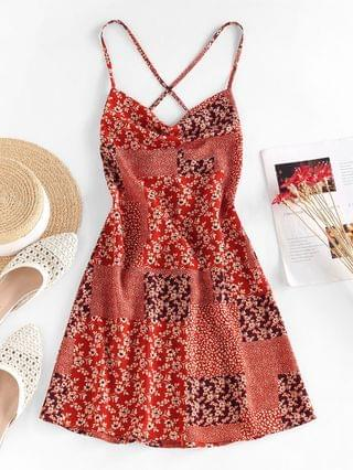 WOMEN Flower Patchwork Printed Mini Cami Dress - Red S