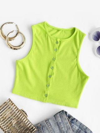 WOMEN Ribbed Button Up Baby Tank Top - Green S