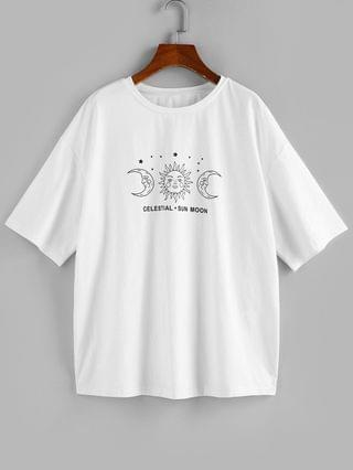 WOMEN Moon And Sun Graphic Drop Shoulder Tee - White Xl