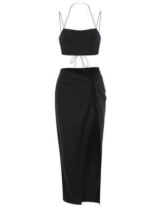 WOMEN Lace-up Bandeau Top And Twisted High Slit Skirt Set - Black L
