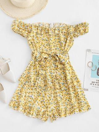 WOMEN Tiny Floral Off Shoulder Ruffles Belted Romper - Yellow L