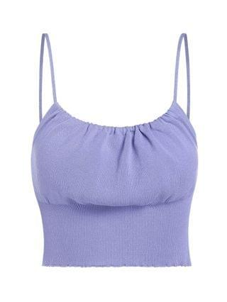 WOMEN Ruched Knitted Crop Cami Sweater - Light Purple S