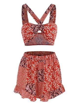 WOMEN Patchwork Print Knotted Smocked Ruffle Wide Leg Shorts Set - Red L