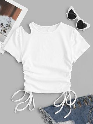 WOMEN Ribbed Cinched Side Cut Out Baby Tee - White M