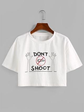 WOMEN Funny Cropped DONT SHOOT Graphic Tee - White S