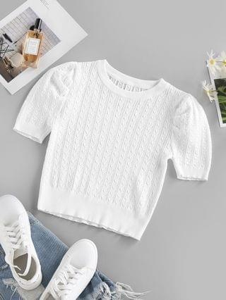WOMEN Cable Pointelle Knit Puff Sleeve Sweater - White L