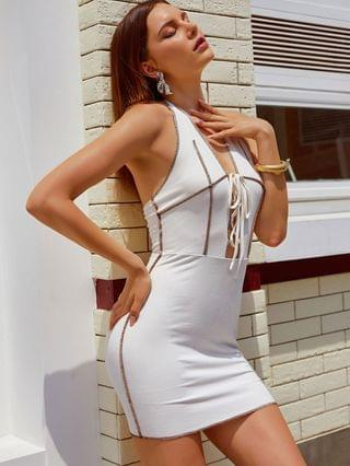 WOMEN Lace-up Ribbed Topstitch Backless Bodycon Dress - White Xl