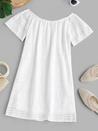 WOMEN Broderie Anglaise Off Shoulder Tunic Dress - White M