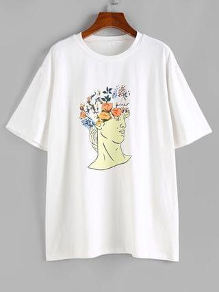 WOMEN Figure Letter Floral Graphic Funny T-shirt - White S