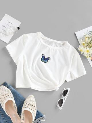 WOMEN Butterfly Embroidery Crop T Shirt - White S