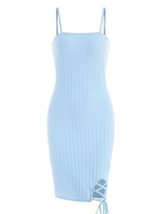 WOMEN Ribbed Lace Up Bodycon Dress - Light Blue L