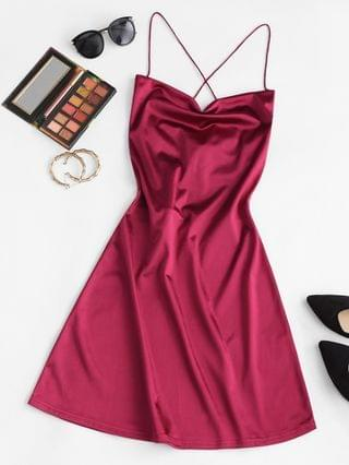 WOMEN Lace Up Open Back Satin Party Dress - Deep Red M