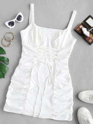 WOMEN Lace Up Ruched Bodycon Corset Style Dress - White S
