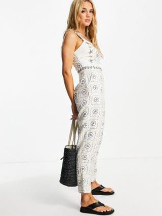 WOMEN Never Fully Dressed embroidered jumpsuit in white starfish print