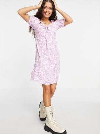 WOMEN Only Petite mini dress with bust detail in pink floral