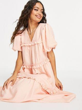 WOMEN Y.A.S Petite crepe tiered puff sleeve midi dress in peach