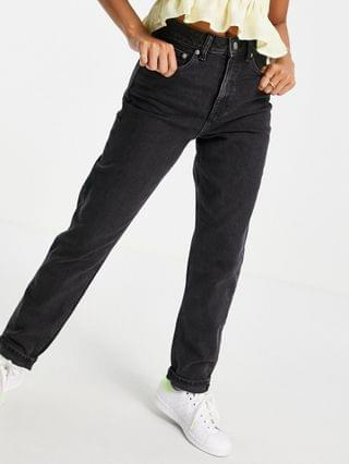 WOMEN Petite high rise farleigh 'slim' mom jeans in washed black