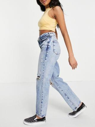 WOMEN New Look Petite straight jean with ripped knee in blue