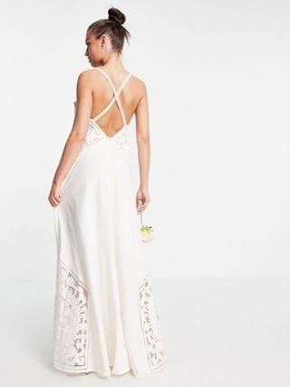 WOMEN EDITION Layla cami wedding dress with applique embroidery