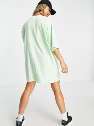WOMEN Weekend Collective oversized t-shirt dress with coloured logo in lime