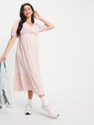 WOMEN New Look Maternity short sleeve wrap tiered midi dress in pink gingham