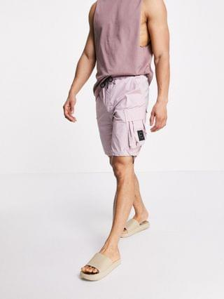 Marshall Artist technical cotton polyamide cargo shorts in rose gold