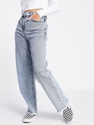 WOMEN Reclaimed Vintage Inspired 90's dad jeans with raw hem in light wash blue