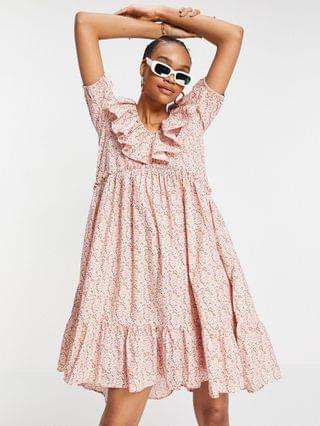 WOMEN Y.A.S organic cotton midi dress with frill collar and pephem skirt in pink floral