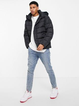 sustainable midweight puffer jacket with detachable hood in black