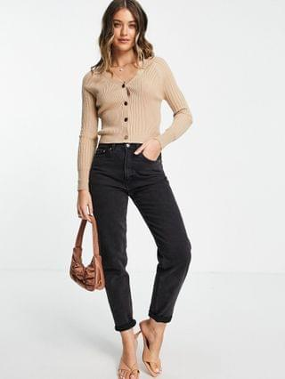 WOMEN Lipsy ribbed cardigan with button detail in camel