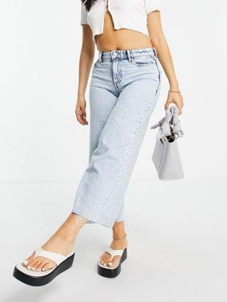 WOMEN Only Petite Sonny cropped wide leg jeans with high waist in light blue