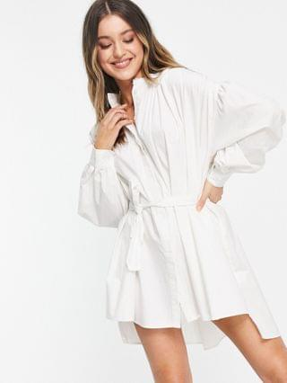 WOMEN In The Style x Lorna Luxe exaggerated cape sleeve shirt dress in white