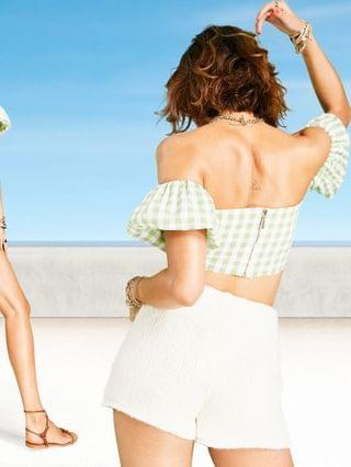 WOMEN off the shoulder corset top in green and white gingham