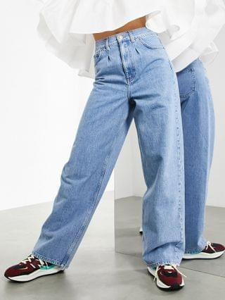 WOMEN EDITION wide leg jeans with pleat detail in light wash