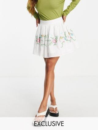 WOMEN Reclaimed Vintage inspired puff sleeve top and mini skirt with cross stitch embroidery