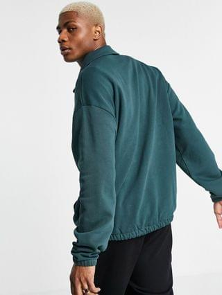 oversized coach jersey jacket in forest green