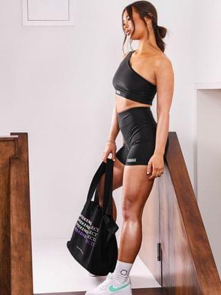 WOMEN Weekend Collective legging short with logo in matte stretch in black - part of a set