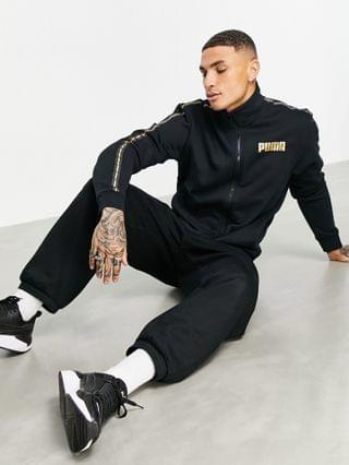 MEN Puma track jacket in black with gold taping