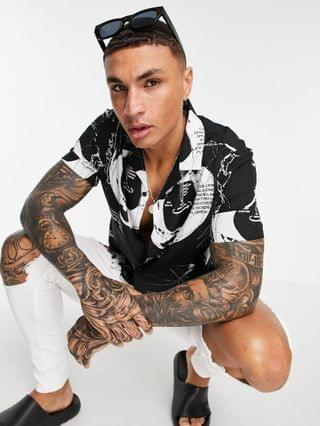 NASA relaxed revere shirt in black with white print