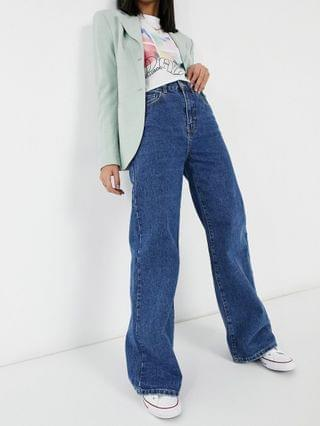 WOMEN Cotton On long wide leg dad jeans in mid wash