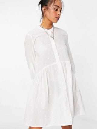 WOMEN Only shirt smock dress with 3/4 sleeves in white