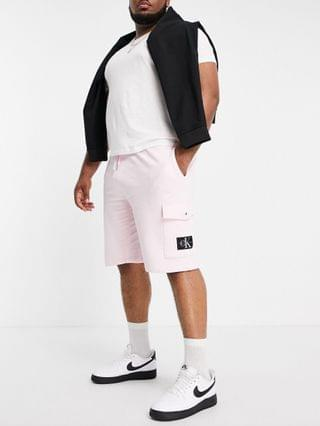 Calvin Klein Jeans Big & Tall exclusive monogram badge shorts in pink
