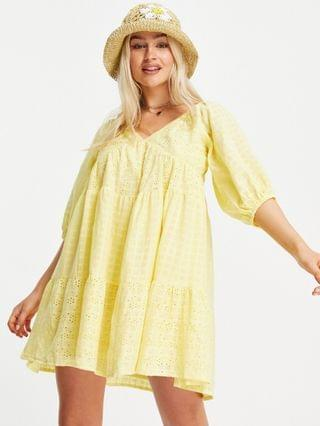 WOMEN Petite mixed broderie tiered mini babydoll dress in yellow