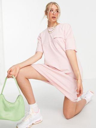 WOMEN Noisy May Tall exclusive organic cotton midi t-shirt dress in pink