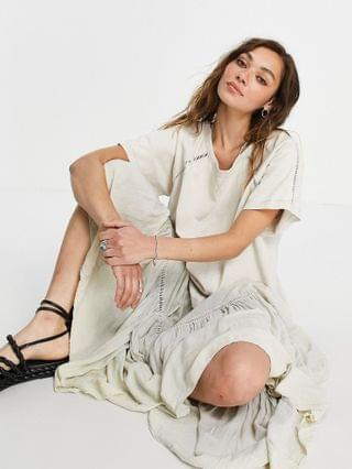 WOMEN Free People sun fade relaxed multi tiered dress in bleached neon