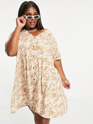WOMEN Noisy May Curve exclusive button through smock mini dress in animal print