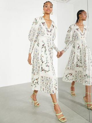 WOMEN EDITION floral embroidered midi dress with lace inserts