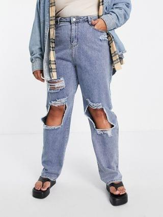 WOMEN In The Style Plus x Olivia Bowen distressed denim straight leg jean in washed blue