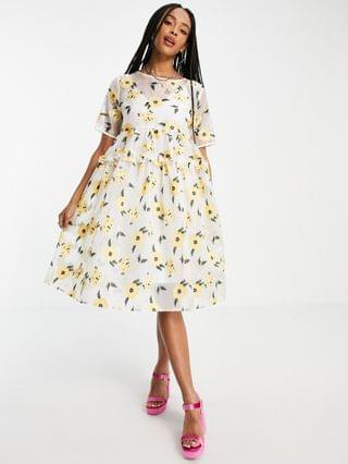 WOMEN Sister Jane Lady Love smock dress in organza with embroidered flowers in yellow